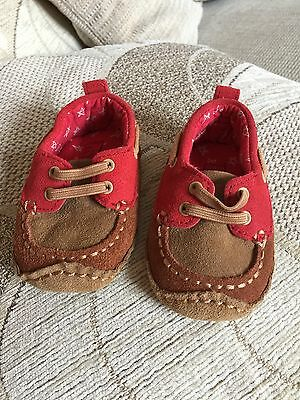 Red Mocassins Baby Boys Shoes M&S   0-6 Months
