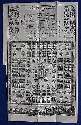 Original antique map plan CAMP OF THE ISRAELITES, TRIBES OF ISRAEL, Basire, 1747