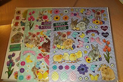 4 Sheets Luxury Easter Stickers Sheets/ 1 Sheet = 8.26 X 5.90 Inch (B) New New