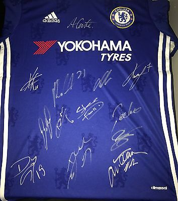 Signed Chelsea FC Home Squad Shirt 2016/17- CostaConteHazard •proof• champions?