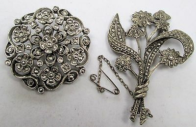 Two large vintage/Deco silver metal & marcasite brooches