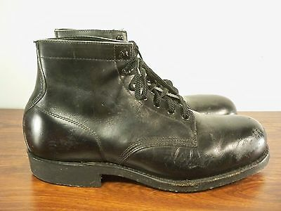 Vintage Knapp Made in USA Black Leather Hunting Men's Chukka Steel Toe Boots 9
