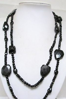 Good vintage long French jet bead necklace