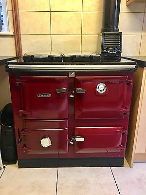 Beautiful Rayburn 355SFW Solid Multi Fuel Boiler Cooker Red WITH INSULATED FLUE