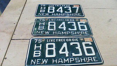 """1975 New Hampshire License Plates Sequential """"HB 8436"""" and """"HB 8437"""""""