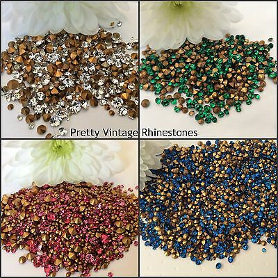 300 Vintage Rhinestones Round French  Mixed size Bargain REPAIR Colour Options