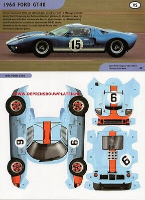 Ford GT40 1964 Gulf Le Mans paper model cut out kit Papiermodell recortable toy