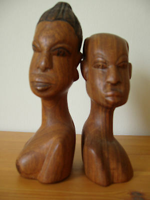 Vintage Busts of Male and Female Carved from Wood