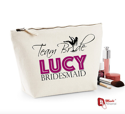 Personalised Make Up Wash Bag -Team Bride- Hen Party/Wedding Day Gift