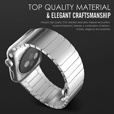 SMOOTH SILVER STEEL Wristband Band Strap Bracelet For iWatch 38MM APPLE WATCH