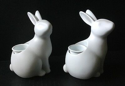 Yankee Candle Cottontails Collection White Easter Bunny Taper Candle Holder Pair