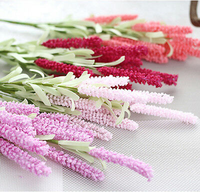 12 Heads Artificial Lavender Flower Leave Bouquet For Wedding Home Decor 8 Color