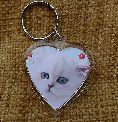Persian Cat Gift Keyring Cat heart shaped Key Ring Birthday Gift