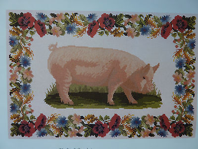 [EB6]Tapestry Chart - Pink Pig with Beautiful Flower Border