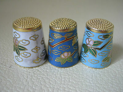 Three pretty cloisonne thimbles with flower & bird-themed decoration