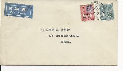 Malta ( Cover to Bagdad ) c/o American Consul with Cairo Cancel in back of cover