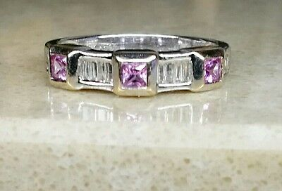 Stunning 18ct White Gold Diamond & Amethyst Ring. Size - L 1/4