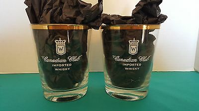 Canadian Club Imported Whisky Round Gold Rimmed Cocktail Glasses Set of 2