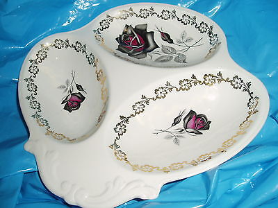 Lord Nelson Ware Relish  Dish  excellent condition black + red rose design