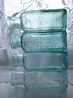 4x SMALL FOSTER & CLARK MAIDSTONE LEMONADE BOTTLES VINTAGE BATHROOM DECOR OLD