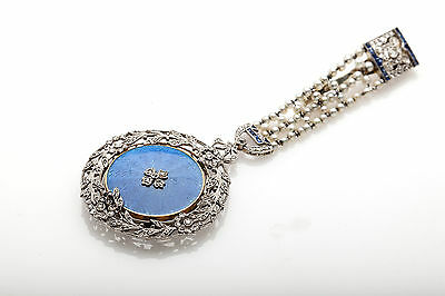 Antique 1900s French Natural Pearl Sapphire Diamond Platinum Chatelaine Signed