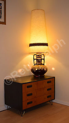 Large German Fat Lava Pottery Floor Lamp, Original Shade, Great Condition.