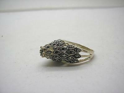 Vintage Unusual Sterling Silver Marcasite High Set Ring size P Hand Made