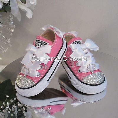 BNIB Baby / Toddler Pink Custom Glass Crystal *Bling* Converse Size 4
