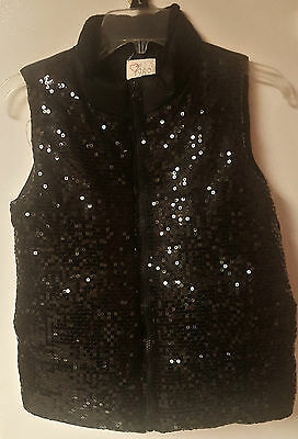 Girl's Black Sequin Puffy Winter Vest 1989 PLACE Size XL (14)