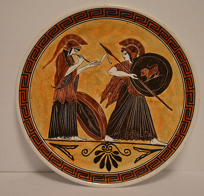GREEK PLATE-VINTAGE-WALL HANGING-HANDMADE IN GREECE ON BACK-MYTHOLGY-10.5 Diamtr