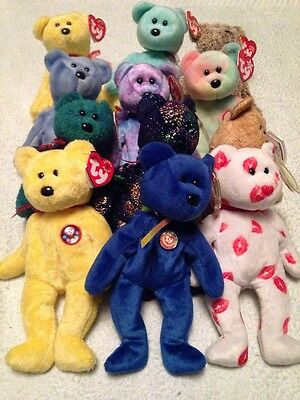 Job Lot Beanie Bears Collection 12 All With Tags Teddy TY