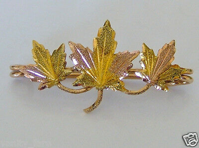 Beautiful 10ct Rose & Yellow Gold Maple Leaf Brooch
