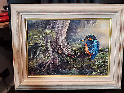 """Stunning Painting On Canvas """" The Kingfisher """" By J Houchen 18"""" X 14"""" Framed"""