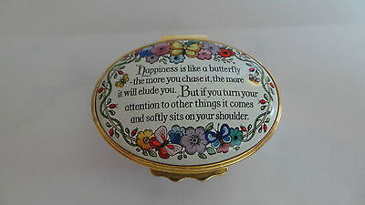 Halcyon Days Enamel Box ~ 'Happiness Is Like A Butterfly...' ~ Boxed