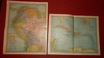 Vintage MAP LOT -  West Indies SOUTH AMERICA - Americana Co. 1903 - Color -