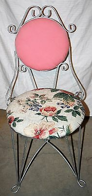 Vintage Teena Wrought Iron Hollywood Regency Vanity Chair