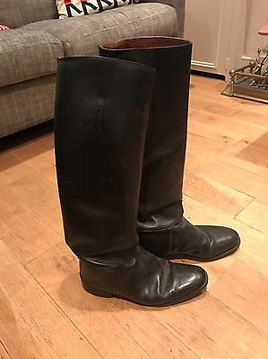 Black Leather Tall Riding Hunting Boots Size 10 Good Condition