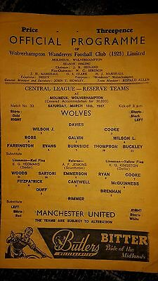 Wolves Reserves v Manchester United Reserves Central League 1966-67