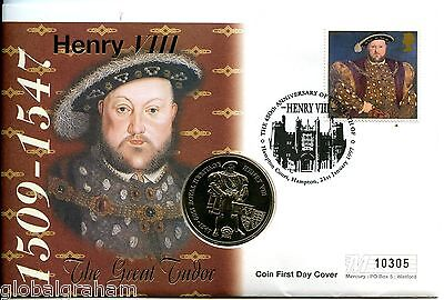 1996 FALKLAND ISLANDS  £2 HENRY 8th COIN IN UK POSTAL COVER