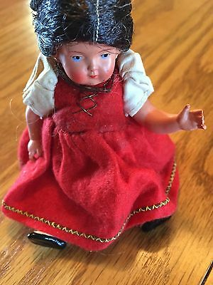 "5"" Vintage / Antique Turtle Mark Doll Braids And Red Dress"