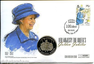 2002 FALKLAND IS. 50p PROOF QUEEN'S GOLDEN JUBILEE COIN IN IOM POSTAL COVER