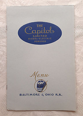 1941 B & O Railroad Dining Car Dinner Menu The Capital Limited Stamped