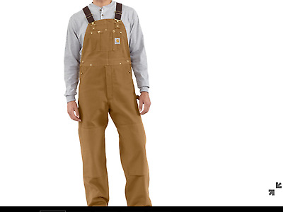 CARHARTT R01 Duck BIB Overalls Unlined NWT Retail $80 GOLD BROWN