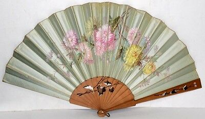 hand fan blue satin painted flowers large  wooden ribs antique original 1800