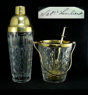 Gold Plated Metal & Crystal Glass Cocktail Shaker & Ice Bucket by Val St Lambert