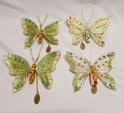 Set Of 4 Katherine's Collection Clip-On Green  Butterfly Ornaments