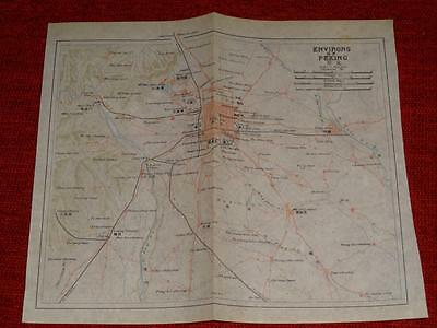 1915 Antique Map - Environs of Peking China - Imperial Japanese Railways