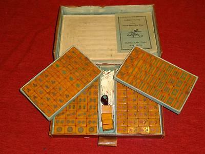 Vintage Mahjong Set 148 tiles AMBER CATALIN STRIATIONS Bakelite Mah Jong