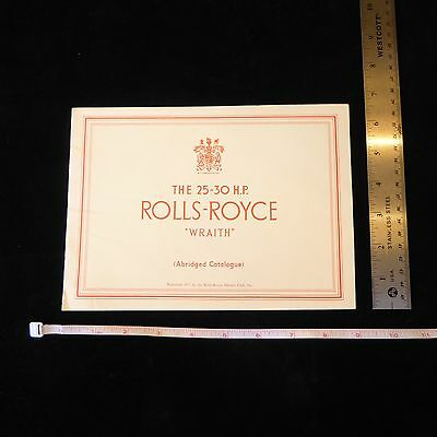 Official Rolls Royce Owner's Club 1977 Reprint 25-30 Hp Wraith Catalog Book