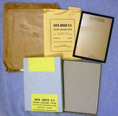 BRAND NEW OLD STOCK Agfa Ansco A-5 Yellow Safelight Filter 5 X 7 Convira Cykon